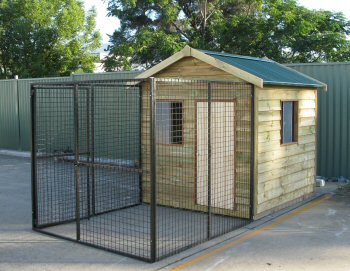 DOG Enclosure Run With Gable Roof Over The Timber Kennel